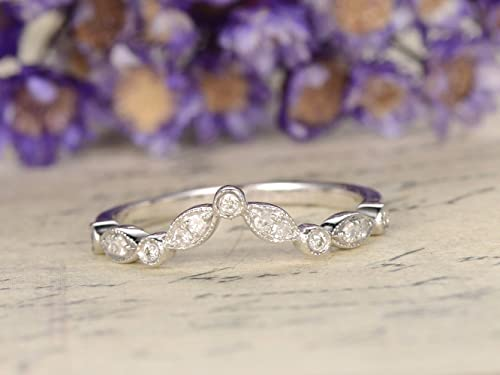 Silver Wedding Ring Marquise Ring Round and Marquise Band Art Deco Vintage Wedding Band Half Eternity Stackable Band Eternity Band Ring