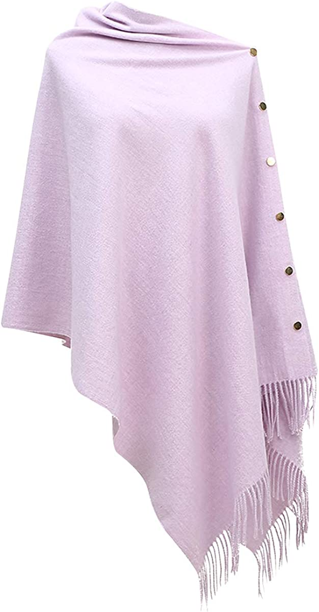 CARCOS Ponchos for Women Shawls and Wraps Poncho with Buttons Fringe Shawl Cape Sweater Scarf Multiway for Spring Autumn Winter