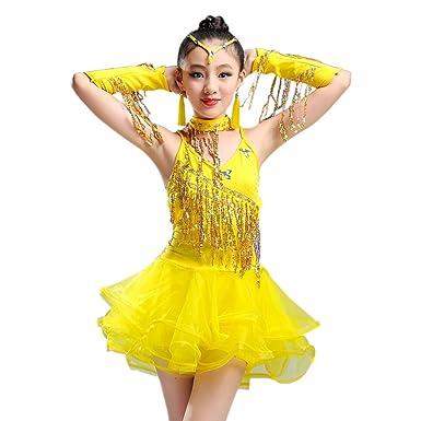 XFentech Vestido Danza Latina Niña Traje de Práctica de Baile ...