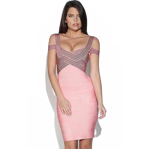 Hlbcbg Rayon V Neck Women's Bandage Dress Cocktail Party Dress 2067