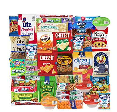 Blue Ribbon Care Package 45 Count Ultimate Sampler Mixed Bars, Cookies, Chips, Candy Snacks Box for Office, Meetings, Schools,Friends & Family, Military,College, Halloween, Fun Variety Pack (Good Things To Send In A Care Package)