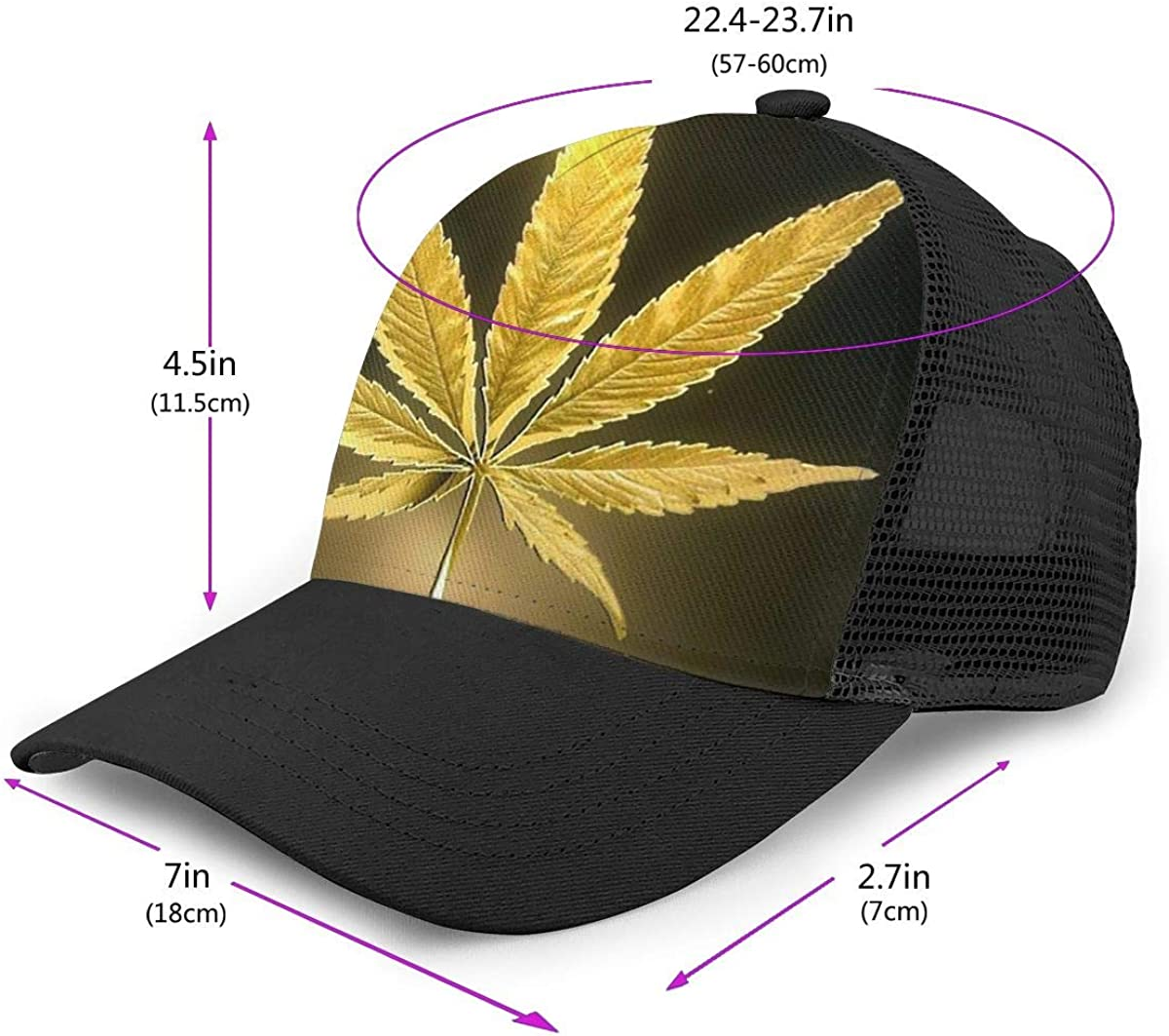 Solid Dad Hat for Unisex Mens and Womens Golden Hemp Leaves Flat Baseball Cap