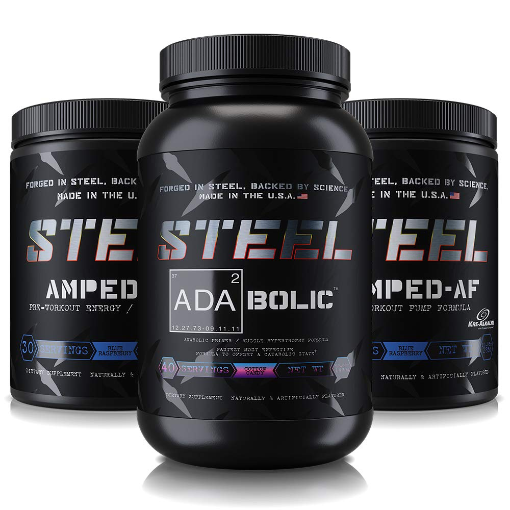 Steel Supplements | The Enhanced Pre-Workout Stack | Cotton Candy/Blue Raspberry/Blue Raspberry
