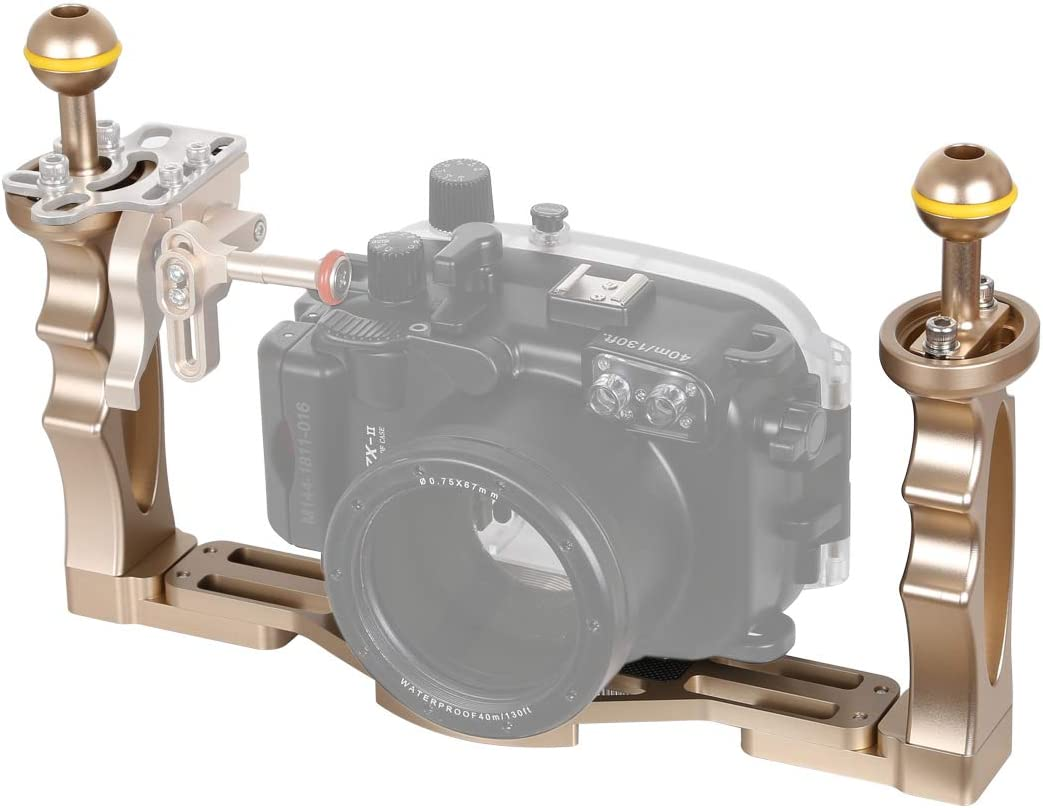 JINGZ Dual Handles Aluminium Alloy Tray Stabilizer for Underwater Camera Housings Durable Color : Gold