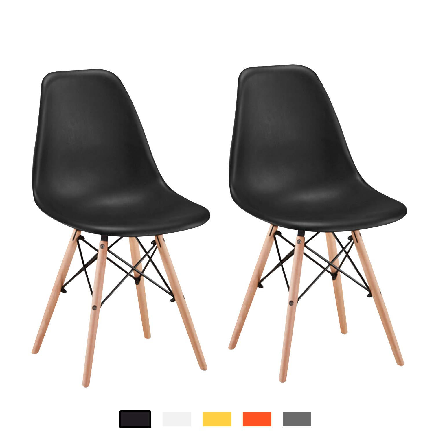 YEEFY Dining Chair Plastic Dining Room Chair Black Kitchen Chairs Set of 2 by YEEFY