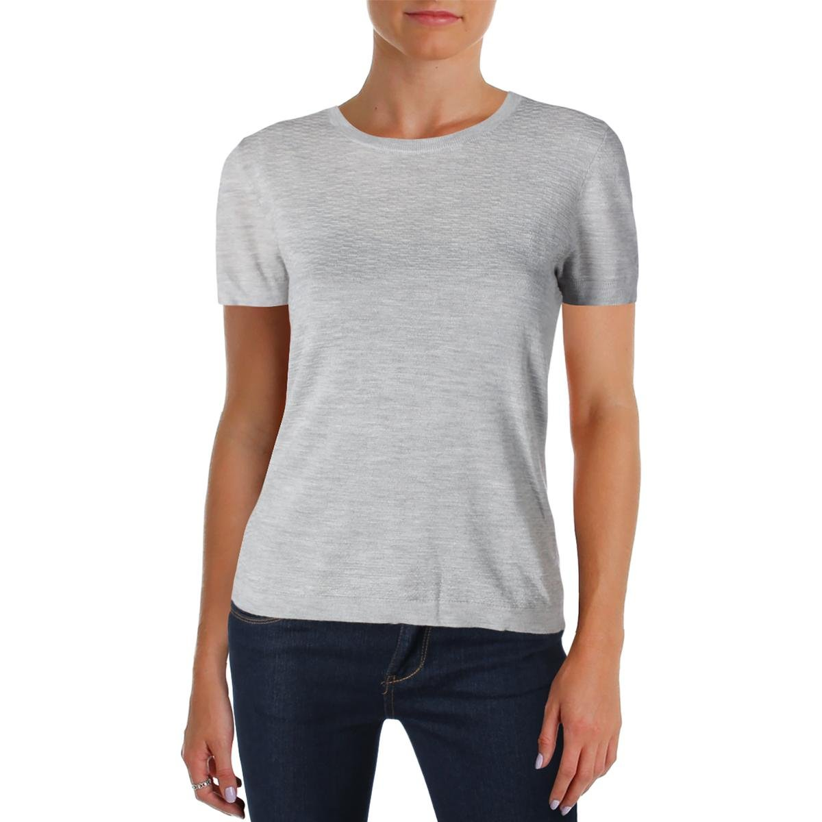 Hugo Boss BOSS Womens Floraria Extra Fine Merino Wool Textured Casual Top Gray M