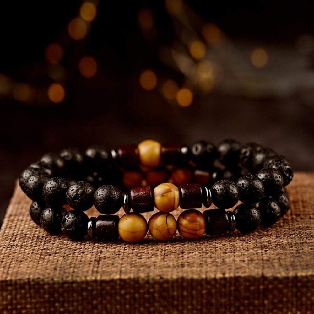 Pulsera de piedra hecha a mano, cuentas de piedra natural clásica, piedra volcánica con cuentas, para pareja, budismo, pulsera de cuentas de madera para hombres, unisex, accesorios de yoga