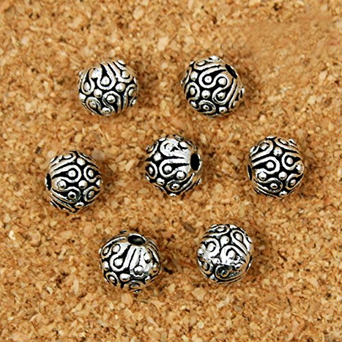 Antique Silver Flower - 10pcs Antique Silver Tibetan Ball Flower Bali Loose Spacer Beads Craft Jewelry Making Findings DIY