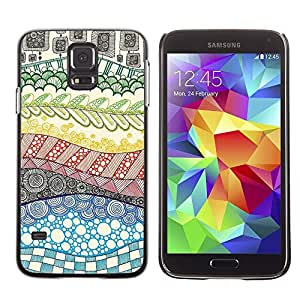 LECELL--Funda protectora / Cubierta / Piel For Samsung Galaxy S5 SM-G900 -- Hand Drawn Rainbow Abstract --