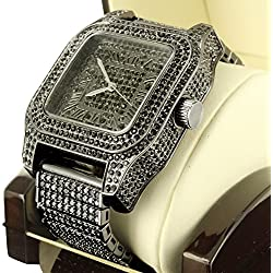 New Fully Iced Out Black Simulated Lab Diamond Techno Pave Jojo Mens Steel Watch