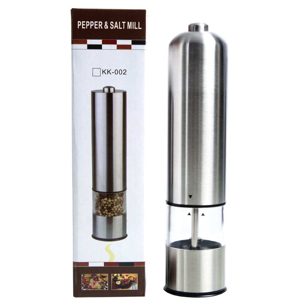 Pepper& Salt Mill with Adjustable Coarseness Stainless Steel Electric Pepper Grinder or Salt Grinder Mill Battery Operated MeiLiMiYu