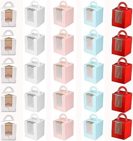 HoufuJC 25 Piezas Caja para Tartas con Ventana, Portátil Cupcake Cajas Contenedores, con Inserto y Asas y Ventana de Exhibición de PVC, para Bodas, Fiestas de Cumpleaños (5 Colores): Amazon.es: Hogar