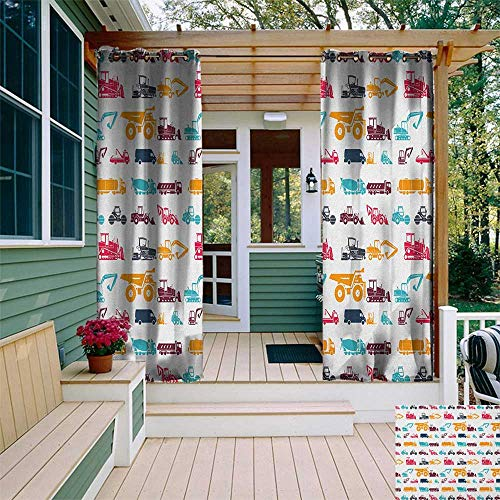 leinuoyi Construction, Porch Curtains Outdoor Waterproof, Collection of Heavy Trucks Vehicles Earthwork Operations Carrier Bulldozer, for Patio W72 x L96 Inch Multicolor