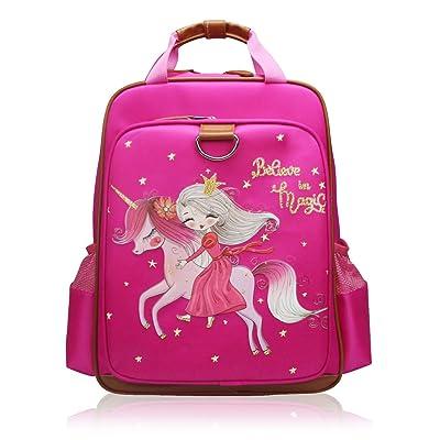 "Backpack Unicorn for Girls 15"" | Pink Kids School Bag for Kindergarten or Elementary Book Bags (Princess) | Kids' Backpacks"