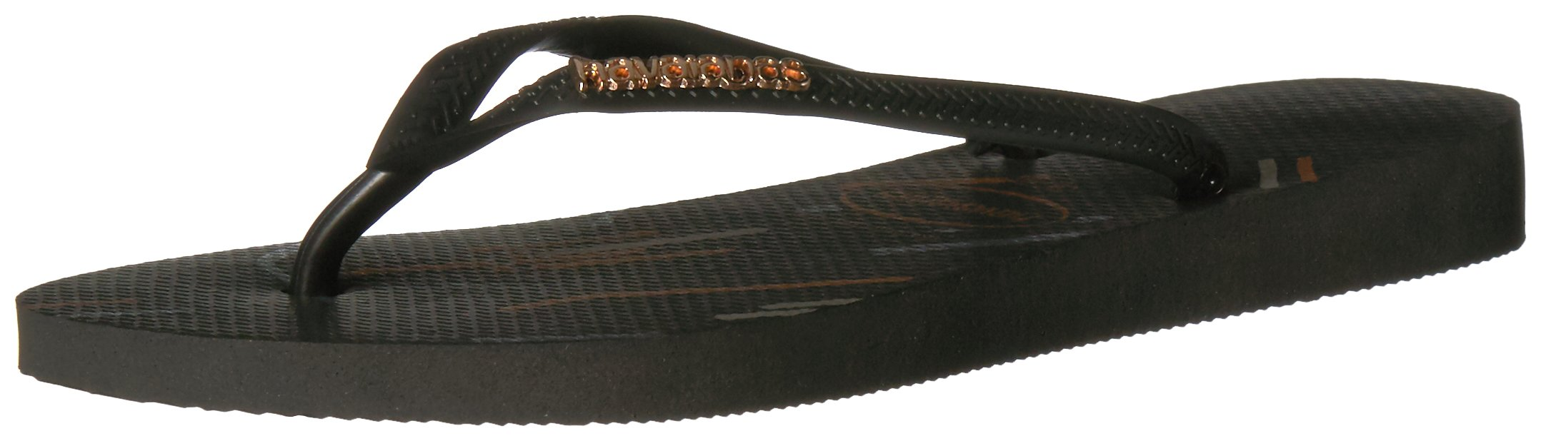 Havaianas Women's Slim Flip Flop Sandals, Logo Metallic Fine Lines,Black/Rose Gold,37/38 BR (7-8 M US)