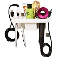 Zomoza Adhesive Hair Dryer Holder, Bathroom Hair Blow Drier Holder with Hair Care Tools Storage Organizer and Cup for Hair Curling Wand Flat Iron Straightener