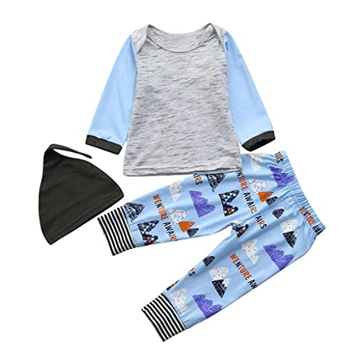 3c340e97f7b Amazon.com  Hatoys 3PCS Toddler Infant Baby Boys Girls Mountain Tops T  Shirt +Pants with Hat Outfits Set  Clothing