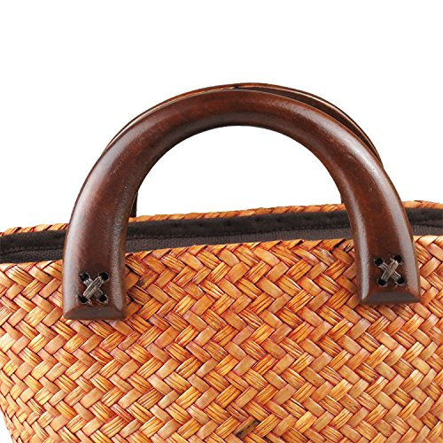 Hombro Bolsa Regalo Bolso Bambú Meaeo De De Bolsa Tejida Mano Tejida De Playa Bolsa Paja Tejido De De Cesta q6nftSxn