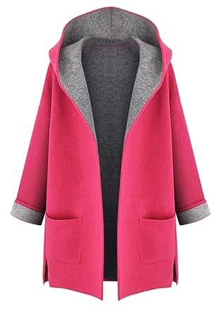 335cc4dd27d WAYA Women Plus Size Color Block Hoodie Cardigan Pea Coat Outwear Red 2XL