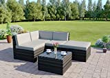 Rattan Modular Corner Sofa Set Garden Conservatory Furniture 5 To 9 Pcs INCLUDES GARDEN FURNITURE COVER (Faro, Dark Mixed Grey with Light Cushions)