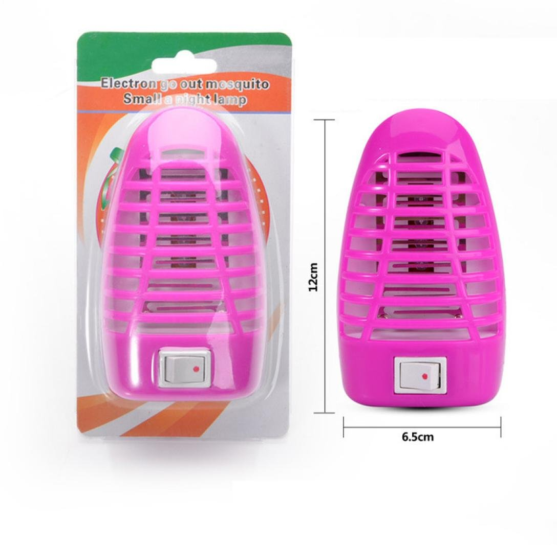 Ecurson Led Electric Mosquito Fly Pest Bug Insect Killer Night Lamp European Plug (Hot Pink)