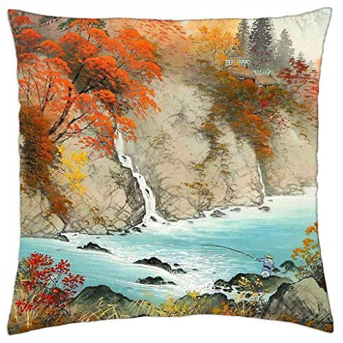 Once again the unknown author. Streams, where trout splashing - Throw Pillow Cover Case (18