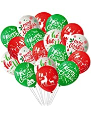 FEPITO 100Pcs Christmas Party Balloon 12 Inch White Red and Green Latex Christmas Balloons, 6 Merry Xmas Style for Christmas Decoration Party Supplies