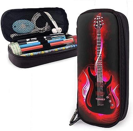 Estuche de lápices de cuero PU con cremallera, estuche de marcador de almacenamiento de gran capacidad para guitarra, estuche de maquillaje-V1-O5K: Amazon.es: Oficina y papelería