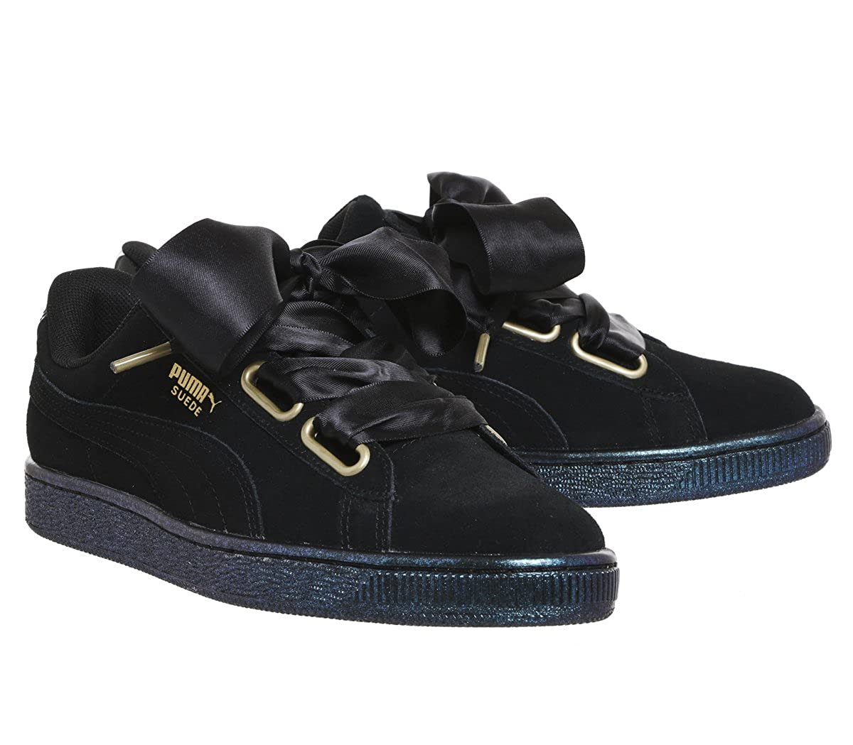 Amazon.com | Puma Suede Heart Satin Womens Sneakers Black | Fashion Sneakers