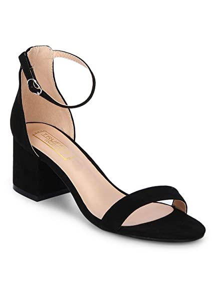 2807d5be099 TRUFFLE COLLECTION Black Ankle Strap Kitten Block Heels  Buy Online at Low  Prices in India - Amazon.in