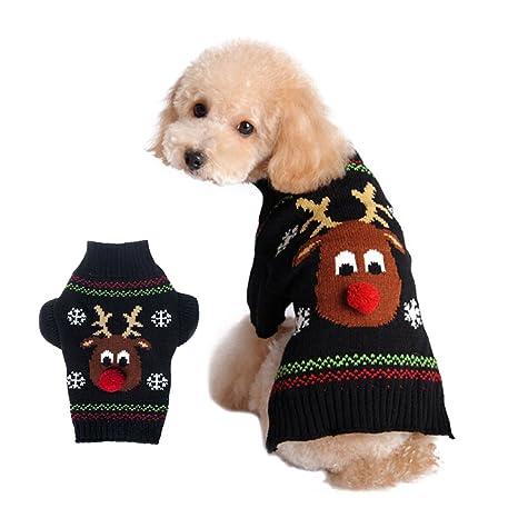 Ropa para Perro UEETEK Disfraces para Perro de Navidad Suéter Jersey Abrigo Invierno para mascotas size