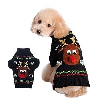 UEETEK Ropa Jersey para Perros Navidad Disfraz de Reno para Perros Pequeños Gatos Negro size S: Amazon.es: Deportes y aire libre