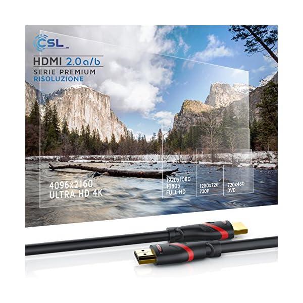 Full HD 1080p // ARC e CEC HDMI 2.0 a//b schermatura tripla e schermatura connettore e contatto 3m Cavo HDMI 4k 60Hz HDR CSL 4K 3D UHD 1080p 3D HFR Ethernet