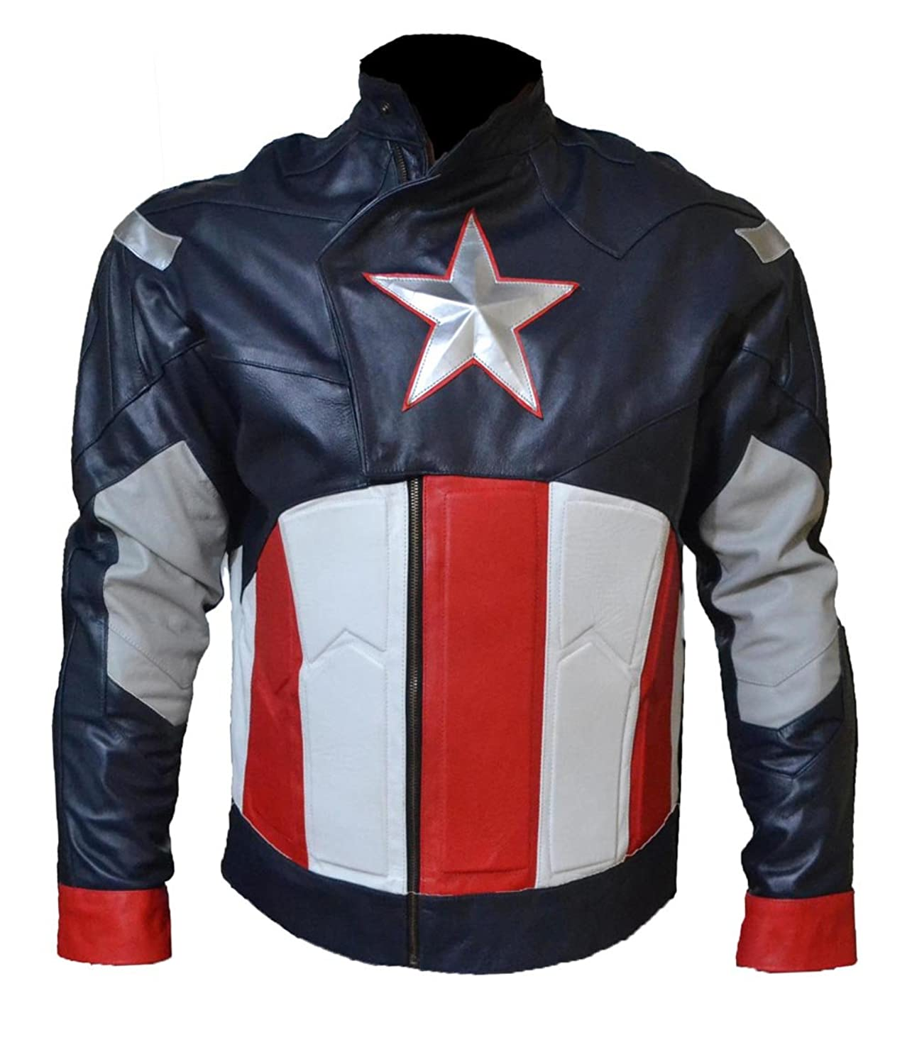 Men's Captain America Avengers Real Leather Biker Jacket - DeluxeAdultCostumes.com