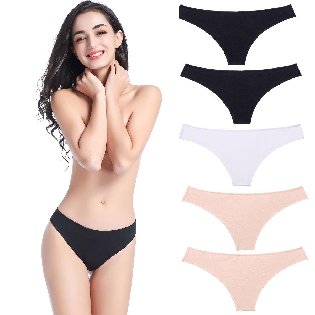 6bf75fff0 wirarpa Women's Cotton Stretch Thong Panties 5 Pack Sexy Bikini Underwear  Low Rise Underpants at Amazon Women's Clothing store: