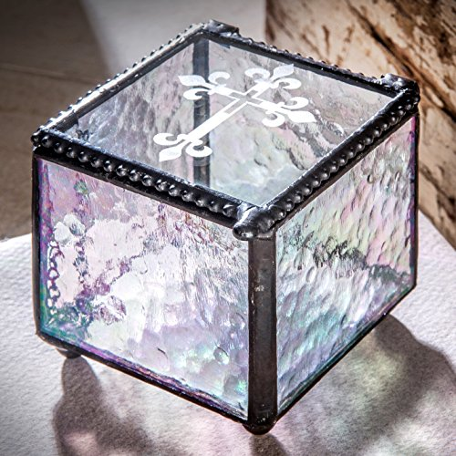Keepsake Box Rainbow (J Devlin Box 709 Etched Cross Keepsake Box Christening, Baptism, First Communion Confirmation Gift Rosary Glass Jewelry Box)