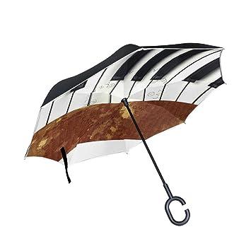 jstel doble capa puede Piano Vintage paraguas coches Reverse resistente al viento lluvia paraguas para coche