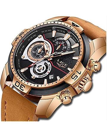 d83f758cbf15 LIGE Relojes para Hombre Militar Impermeable Deporte Cuarzo Analógico Reloj  Gents Cronógrafo Fecha Calendario Cuero Marrón