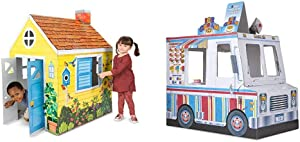 Melissa & Doug Country Cottage Indoor Playhouse & Food Truck Indoor Playhouse,Multicolored