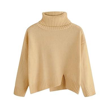 63404897d52 DEZZAL Women s Long Sleeve Turtleneck Drop Shoulder Slit Hem Knitted Sweater  (Camel)