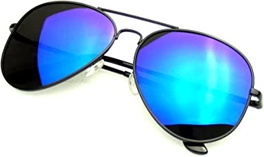 Blue Mirror with hard case and cloth Large Luxury Clip on Sunglasses
