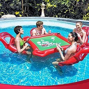 YGJT Flotador Hinchable de Una Mesa de Juego con 4 sillas para Piscina 4 Adultos