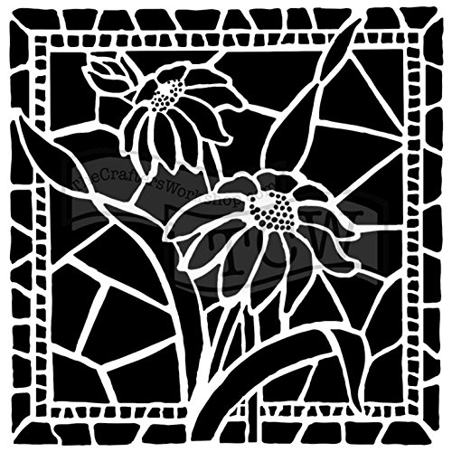- The Crafter's Workshop Set of 2 Stencils - Stained Glass Daisies - 12x12 Large and 6x6 inch Mini - Includes 1 Each TCW657 and TCW657s - Bundle 2 Items