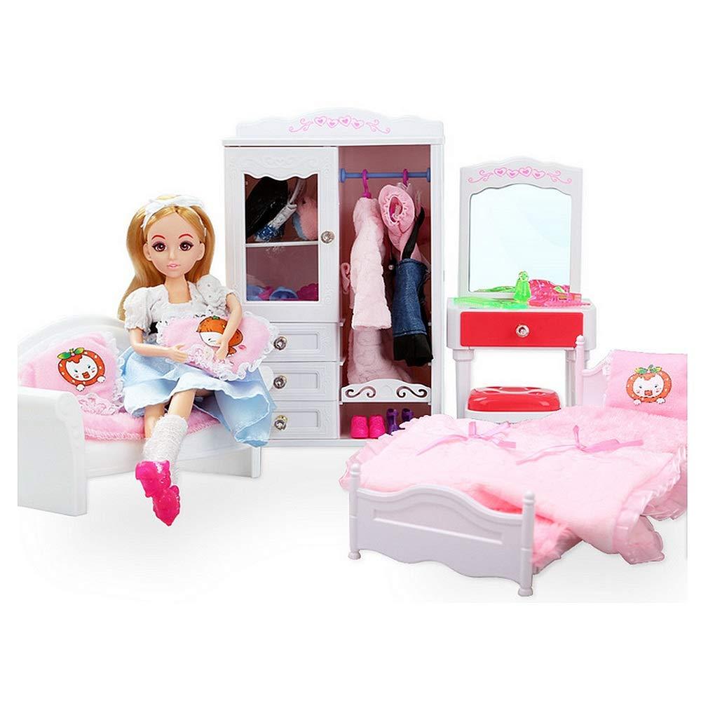 Zhangcaiyun Küchen-Sets für Kinder Toy Doll Dream House Schlafzimmer Prinzessin Möbel mit Schlafsofa Schrank Schminktisch für Barbie Puppen Kleidung Zubehör Küchenspielsets