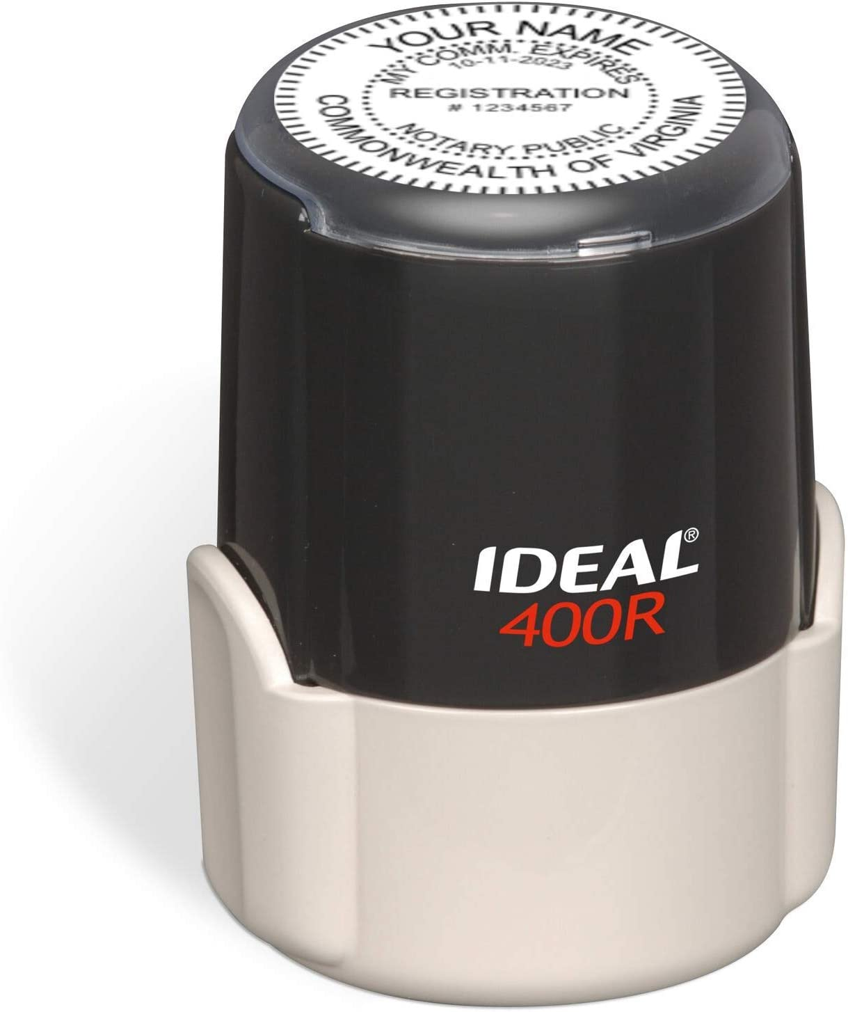 Ideal 400r with Advanced Durability Round Notary Stamp for State of Virginia Self Inking Unit