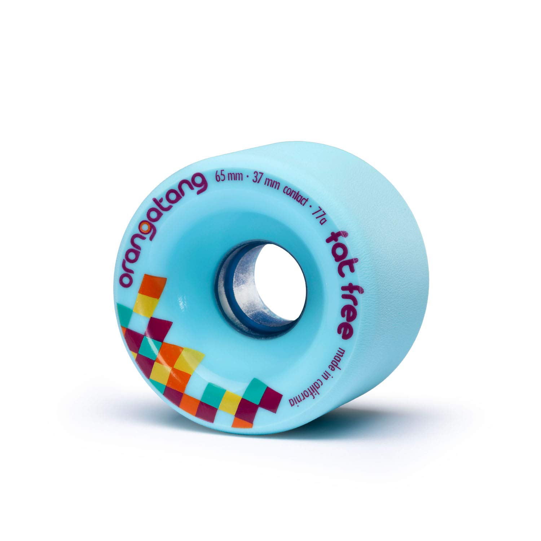Orangatang Fat Free 65 mm 77aa Freeride Longboard Skateboard Wheels w/Loaded Jehu V2 Bearings (Blue, Set of 4)