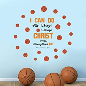 IARTTOP Creative Basketball Wall Decal,Inspirational Quote-I Can Do Sticker for Kids Bedroom Playroom Classroom Decor Sports Theme Wall Art Decoration