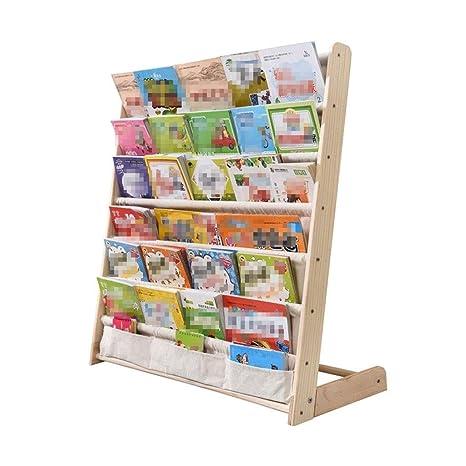 Amazon.com: Children\'s Bookshelf Solid Wood Floor Rack Multi ...