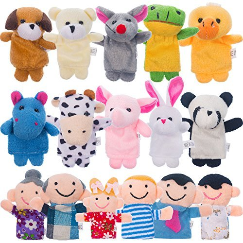 Lvcky 16Stücke Finger Puppets Verschiedenen Familie und Tier Stil Cartoon Fingerpuppen für Kinder Velvet Soft Süße Tier Finger Puppets Baby Story Time