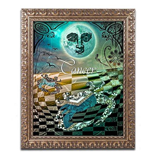 (Art Nouveau Zodiac Cancer by Color Bakery, Gold Ornate Frame)